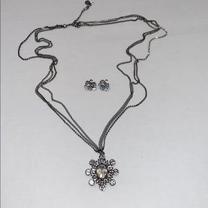 Crystal Silver Necklace and Earrings